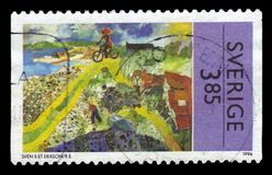 Painting by Sven `X-et` Leonard Erixson, swedish painter and sculptor. SWEDEN - CIRCA 1996: stamp printed in Sweden, shows painting by Sven `X-et` Leonard Stock Photo
