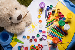 Painting teddy bear Royalty Free Stock Images