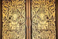Painting on temple door Royalty Free Stock Image