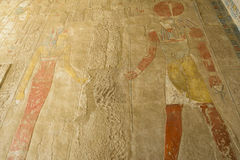 Painting at the temple of Hatshepsut, Luxor (Egypt) Stock Photos