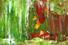Painting texture. Green and red colored painting details Stock Photography
