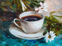 Painting texture oil painting still life, a cup of coffee drink Stock Image