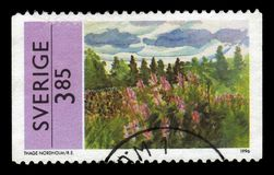 Painting by Thage Nordholm, swedish painter. SWEDEN - CIRCA 1996: stamp printed in Sweden, shows painting by Thage Nordholm, swedish painter, circa 1996 Stock Photography