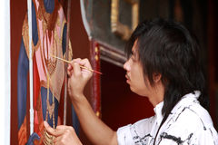 Painting Thangka.Bangkok.Thailand Royalty Free Stock Photos