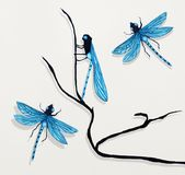 Painting of Three Dragonflies Stock Images