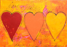 Painting of three hearts Stock Images