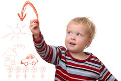 Painting toddler. Portrait of a toddler painting on white background Royalty Free Stock Photos
