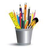 Painting tool in office  on white background. Colored pencil, pen and ruler in office a full set. Royalty Free Stock Photo