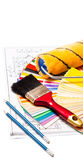 Painting tools. Painting roller, pencils, drawings, paint brush  and color guide on white Royalty Free Stock Image