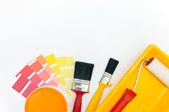 Painting tools and accessories with color samples Stock Photos