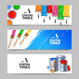 Painting Tools Banners Set Royalty Free Stock Images