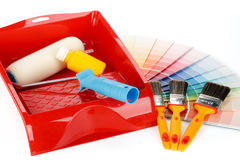 Painting tools and color guide Royalty Free Stock Photos