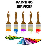 Painting tools and color samples. Painting paintbrushes and color samples Stock Illustration