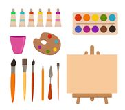 Painting tools elements cartoon colorful vector set. Royalty Free Stock Image