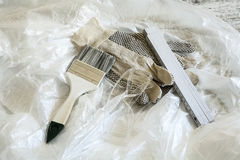Painting Tools with Foil Royalty Free Stock Image