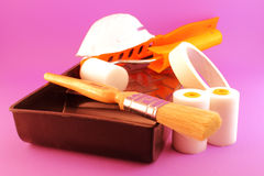 Painting Tools isolated on pink Stock Images
