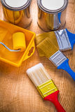 Painting tools paint brushes roller tray can on Royalty Free Stock Images