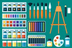 Painting tools. Vector set of painting tools. Fine arts. Flat style Stock Photo