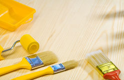 Painting tools on wooden boards Royalty Free Stock Images