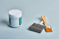 Painting tools on a worktable Stock Photos