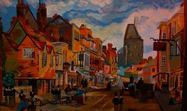 Painting, Town, Art, City royalty free stock photography