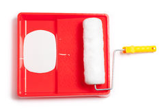 Painting Tray wih Roller and Paint Stock Image