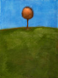 Painting of tree & green field Stock Photo
