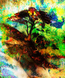 Painting tree, wallpaper landscape, color collage Stock Photo