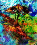 Painting tree, wallpaper landscape and ornamental Royalty Free Stock Images