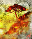 Painting tree, wallpaper landscape and ornamental Stock Photos