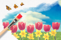 Painting Tulips Royalty Free Stock Images
