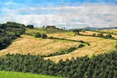 Painting of Tuscany landscape royalty free stock image