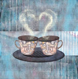 Painting two cups of coffee or tea with heart. Love greeting card. Painting two cups of coffee or tea for lover with steaming heart. Porcelain and ceramics decor Royalty Free Stock Image