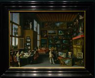 A painting by an unknown Flemish artist in the National Gallery in London. A painting by an unknown Flemish artist - Cognoscenti in a Room hung with Pictures Stock Photo