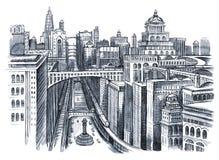 Painting of urban city vector illustration
