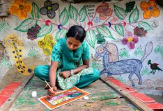 Painting Village in India Royalty Free Stock Photography