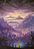 Painting of violet mountains and islands, vegetation, dawn, abstract landscape, mystical nature, post-apocalypse, sunset. Watercol. Original Painting two people Royalty Free Stock Photo