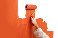 Painting a wall Stock Photo