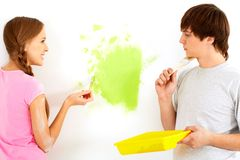 Painting wall Stock Image