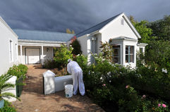 Painting wall. Painter carrying out maintenance painting on front wall of dwelling Stock Image