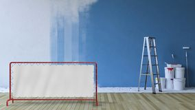 Painting wall blue in an empty room Royalty Free Stock Photography