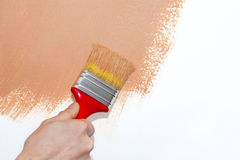 Painting a wall brown. Painting roller on white wall with brown paint Stock Photography