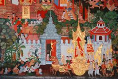 Painting on the wall in the church. Wat Klang Bang Keaw temple, Nakhon Chai-sri, Nakorn Pathom,Thailand. Generality in Thailand, any kind of art decorated in Stock Photography