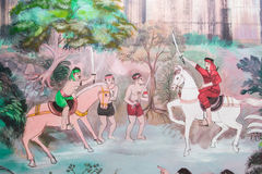 Painting on the wall in pagoda. Royalty Free Stock Photos