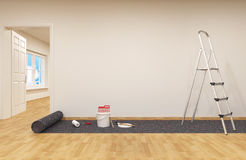 Painting a wall. Paint can with roller brush and Ladder stock illustration