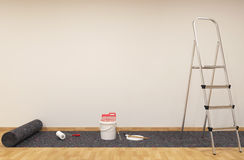 Painting a wall. Paint can with roller brush and Ladder 3D rendering Royalty Free Stock Photography