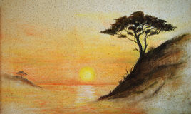 Painting on wall.Painting sunset, sea and tree, wallpaper on wall Royalty Free Stock Image