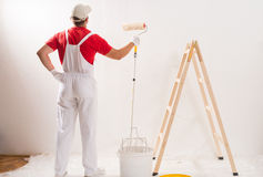 Painting Wall With Roller Stock Image
