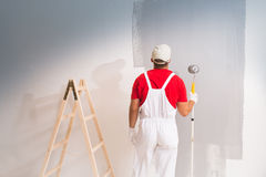 Painting Wall With Roller Stock Images