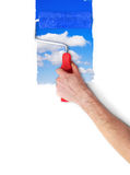 Painting the wall with sky Royalty Free Stock Image